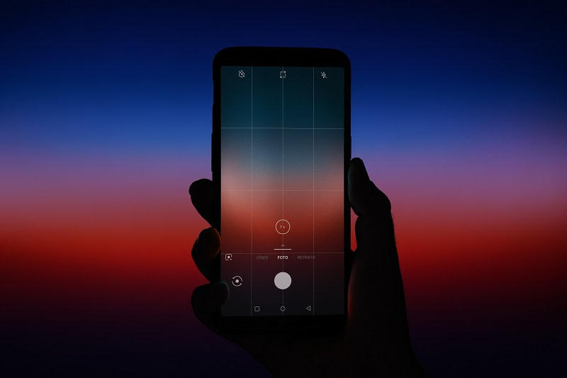 Mobile phone screen with night sky