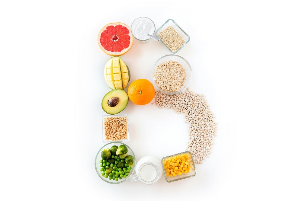 The letter B written with health foods